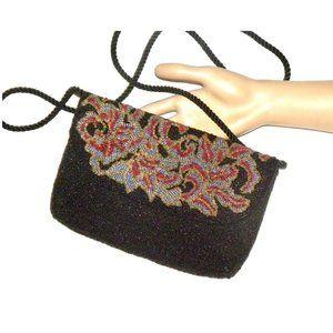 VTG 80s Black & Multicolor BEADED Shoulder Bag